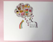 Final Sale original CakeSpy Watercolor: Unicorn Thoughts