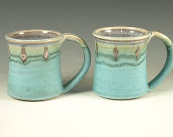 A Pair of Pottery Mug (14oz) in turquoise glaze large handle stoneware