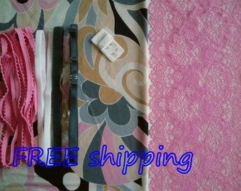 FREE Ship DIY Fabric + Notions Art Deco design & Pink for 1 BRA + Panty by Merckwaerdigh