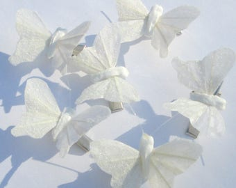 Butterfly Hair Clips small white iridescent glitter feather butterfly hand made hair clips by Ziporgiabella