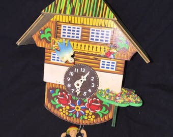 Vintage Black Forest Swiss Chalet Cuckoo Clock