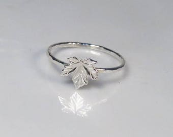 SALE - Silver maple leaf ring, Thin stacking ring, Maple ring, Canadian jewelry