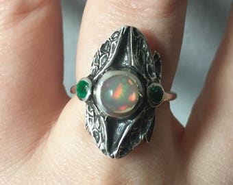 Opal and Emeralds in Sterling- Three Stone Dragonfly Ring