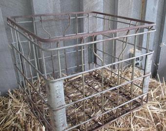 Vintage Heavy Metal Milk Crate - Rusty Metal Dairy Crate - Flav O Rich 82 - Rustic Storage Bin