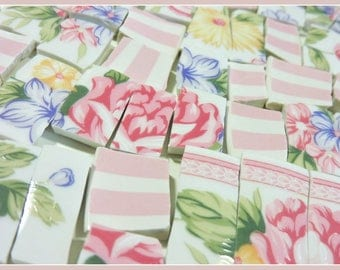 Mosaic Tiles - PiNK RoSeS and STRiPeS - Vintage China Tiles
