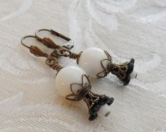 75% Off Clearance Sale, Lily Blossom Earrings, Vintage Glass Beads, Black and White