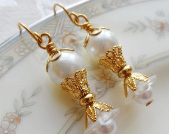 75% Off Clearance Sale, Pearl Lily Flower, Faux Pearls, Gold Finish