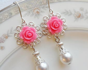 75% Off Price Sale, Hot Pink Rose, Silver Filigree, Faux Vintage Pearl Bead