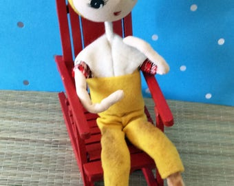 Vintage bendable posable doll in yellow capri pants, yellow hat and red shoes - as is