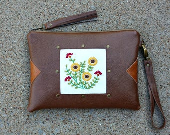 Hand Embroidered Vegan Leather Clutch / Strap and Tassel included