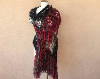 Christmas Shawl Stevie Nicks Christmas Gift with Red Maroon Burgundy Wine, Black, Green Spanish Rose Fringe Shawl Wrap Knit Accessories