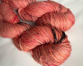 Hand-dyed yarn, Indie dyed yarn, hand dyed yarn I <3 NY Peach T Shirt -- ready to ship -- Flushing Meadows bulky superwash wool yarn