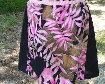 Pink Black Skirt, Handmade, Upcycled Skirt, Tropical Skirt, Black Heart Applique, Recycled Skirt, Back Zipper, Recycled Skirt, Unique Skirt