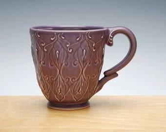 Violet mug, Victorian modern stamped cup