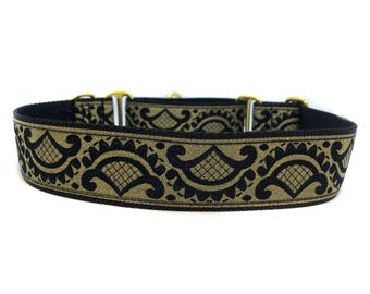 Wide 1 1/2 inch Adjustable Buckle or Martingale Dog Collar in GoldiePups