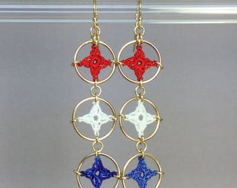 Spangles, red white and blue silk earrings, 14K gold-filled