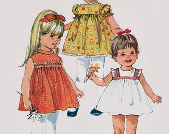 Vintage 1960s Girl's Cutest Summer Dress Sewing Pattern Simplicity 8016 Children's 600s Pattern Size 3 Breast 22 UNCUT or Cut