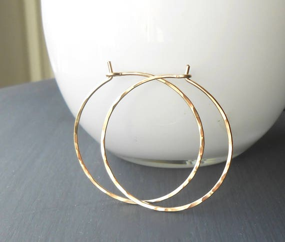 Thin Hammered Gold Filled Hoops, 1 inch, 1.25, 1.5 inch