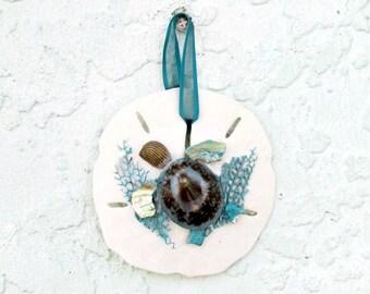 Sand Dollar Ornament, Sea Turtle Ornament, Aqua and White, Coastal Xmas Decor Aqua, Christmas Tree, Coastal Beach Decor,Turtle Ornament