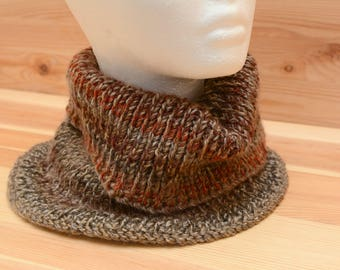 Large brown knitted neckwarmer/cowl