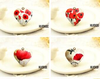 1pcs Vintage Poppies Heart Locket Necklace, Retro Poppies Locket Charm Pendant, Antique Bronze Brass Locket