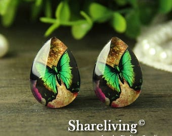 SALE - 30% OFF 4pcs 18x25mm Handmade Photo Teardrop Glass Cabs Cabochons -- BCH964R
