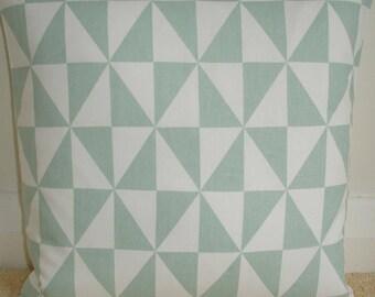 "22x22 Duck Egg Pillow Cover 22"" Square Decorative Cushion Case Throw Slip Sham Pillowcase Geometric Ivory Triangles Contemporary Modern"