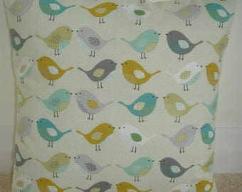 "Saffron Ochre Gray Teal Duck Egg and Grey Kissing Birds 18x18 Pillow Cover Bird 18"" Cushion Case Sham Slip Pillowcase Nordic Scandinavian"