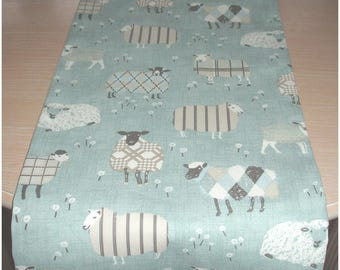 "Sheep Table Runner 72"" Tartan Plaid Cream Duck Egg Grey 6ft Coffee Piano Topper Decorative Farmhouse Gray 180cm"