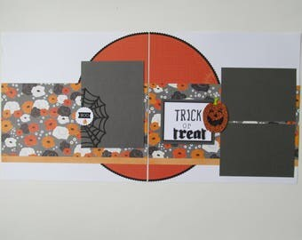 Trick or Treat Halloween Premade or DIY Kit,12x12 Scrapbook Layout,  Scrapbook Page Kit, Project Life, Filofax