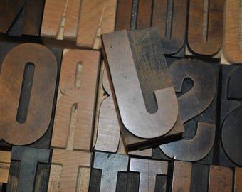 Letter J   Vintage Wood Letterpress   Capital Letter J   Antique Letterpress Block 2.5 Inches Tall