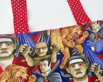 Horror Movie Monsters Tote Bag: Dracula, Frankenstein, The Mummy.