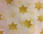 "Judaic Fabric Gold  Stars of David on White  Half Yard 18"" x 44"""