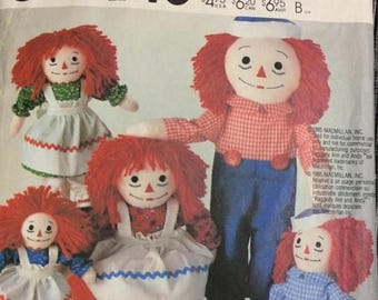 Christmas in July McCall's 2447 Raggedy Ann and Andy Doll Sewing Pattern Partially Cut  Complete With Clothes and Transfers