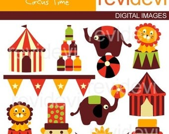 35% OFF SALE Circus clipart / circus digital clip art / Circus Time - Digital Images - Kawaii cute clipart