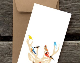 Deer and Birds -- 8 Blank flat cards and envelopes