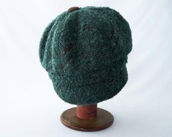 Newsboy Hat, Women's Hat, Teal Blue, Boucle, Copper Brown, Wool Hat, Faux Suede, Cute Hat, Cloche Brim, Gift for Her, Cap, Chapeau, Mod