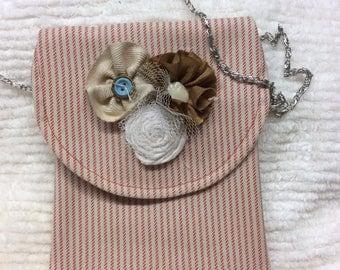 SALE!! Red and cream stripe crossbody, purse, bag, tote,sling purse,mini messenger bag