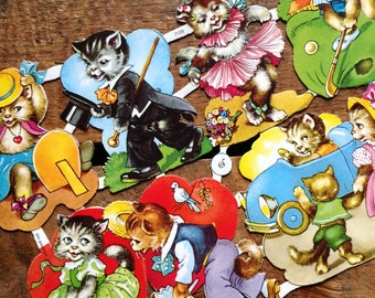 German Scraps - Cute Kittens, Cute Cats - Die Cuts, Cut Outs, Reproduction, Vintage Style, Vintage Inspired, Cute Animals, Paper Ephemera