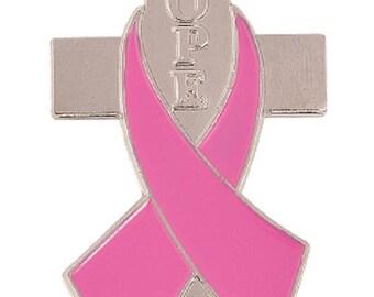 Pink Ribbon Pin with Cross