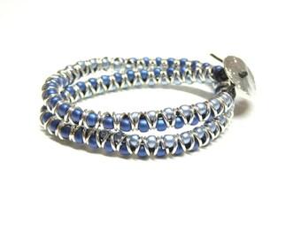 wrap bracelet,beaded double wrap bracelet,sterling silver blue wrap bracelet,boho wrap bracelet,teens,girls,boys,women,men