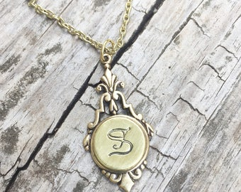 Personalized Stamped Initial Necklace, Bridesmaid Necklace, Bridal Shower Gift Idea