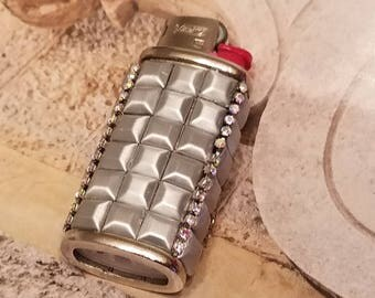 Bic Mini Lighter Case/Grey Bling