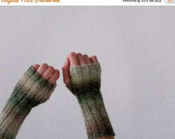 First Fall Sale - 15% Off New Growth Hand Knit Lightweight Fingerless Gloves in Spring Green, Cream, and Light Brown
