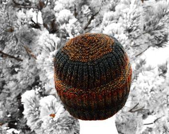 Handknit Rainbow Hat - Textured Handknit Multicolor Durable Wool/Nylon Blend Hand Knit Twotrack Beanie in Dark Rainbow Colors. Fall & Winter