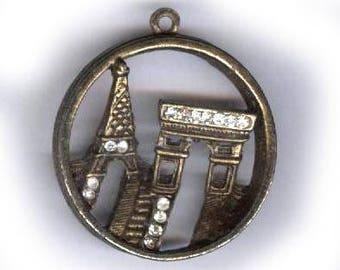 vintage pendant FRANCE or FRENCH theme landmarks rhinestone and metal charm a true OOAK vintage charm Eiffel Tower
