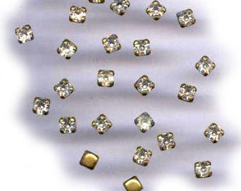 vintage TINY RHINESTONES in prong SETTING fifty 3mm rhinestone square shapes in brass prong set tiny findings
