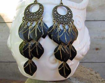 Black Chandelier earrings, Boho earrings, big earrings, Leaf earrings, Black earrings, Bohemian jewelry