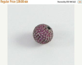SHOP SALE Disco Ball Round Bead Black Rhodium over Sterling Silver Pave Set Hot Pink Cubic Zirconia CZ Encrusted Bead 10mm