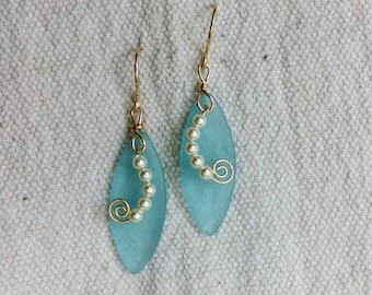 Light teal sea glass and gold earrings